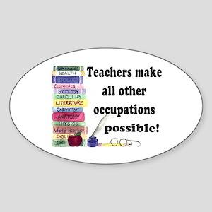 """""""Teacher Occupations"""" Oval Sticker"""