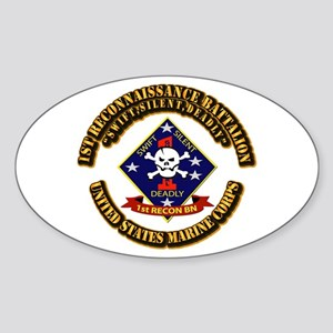 1st - Reconnaissance Bn With Text USMC Sticker (Ov