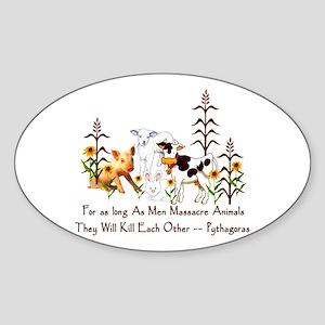 Pythagoras Vegetarian Quote Sticker (Oval)