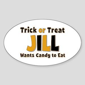 Jill Trick or Treat Oval Sticker