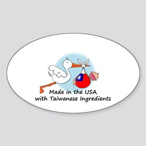 Stork Baby Taiwan USA Sticker (Oval)