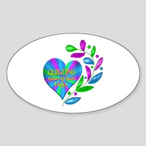 Quilting Happy Heart Sticker (Oval)
