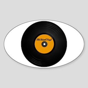 Old School Vinyl Record Oval Sticker