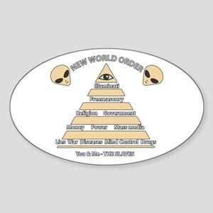 NWO conspiracy Oval Sticker