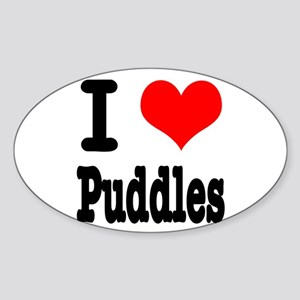 I Heart (Love) Puddles Oval Sticker