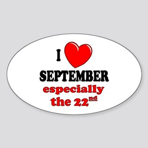 September 22nd Oval Sticker