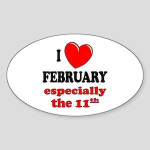 February 11th Oval Sticker