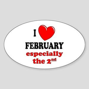 February 2nd Oval Sticker
