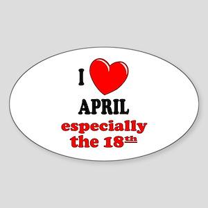 April 18th Oval Sticker