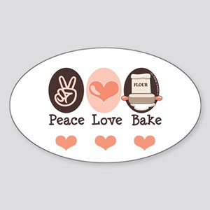 Peace Love Bake Bakers Baking Oval Sticker