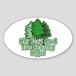 Tree Hugging Hippie Oval Sticker