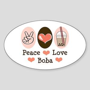Peace Love Boba Bubble Tea Oval Sticker
