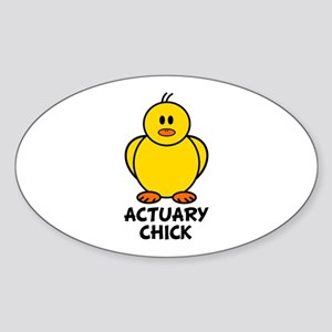 Actuary Chick Oval Sticker