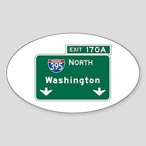 Washington, DC Highway Sign Oval Sticker