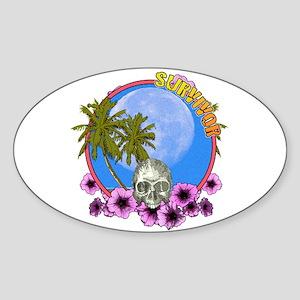 Skull in flowers Sticker (Oval)