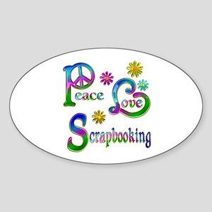 Peace Love Scrapbooking Sticker (Oval)
