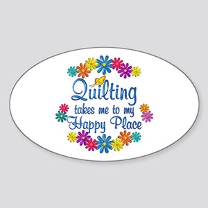 Quilting Happy Place Sticker (Oval)