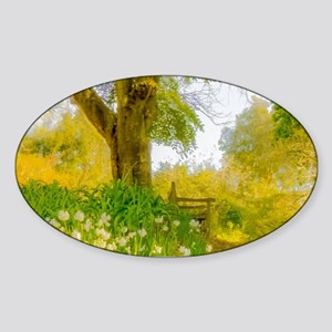 Golden Scene with Tree and Bench Sticker (Oval)
