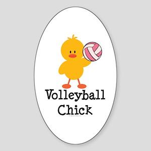 Volleyball Chick Oval Sticker