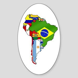South America Flag Map Sticker (Oval)