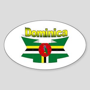 Dominica republic flag ribbon Oval Sticker
