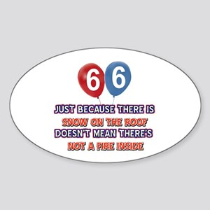 66 year old designs Sticker (Oval)