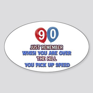 90 year old designs Sticker (Oval)