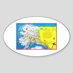 Alaska Map Greetings Sticker (Oval)