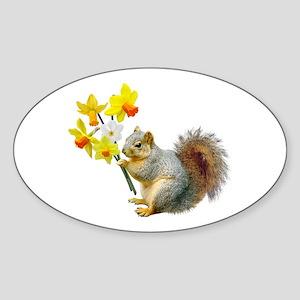 Squirrel Daffodils Sticker (Oval)