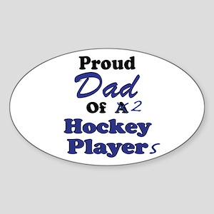 Dad 2 Hockey Players Sticker (Oval)