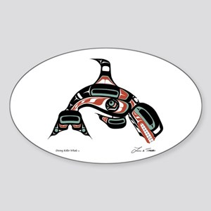 Diving Killer Whale Oval Sticker