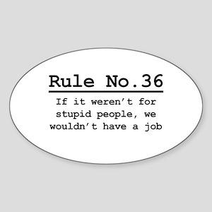 Rule No. 36 Oval Sticker