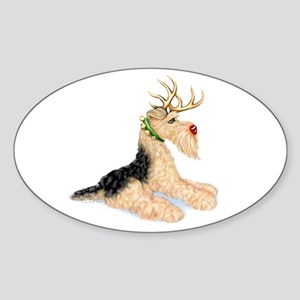 Airedale Christmas Dale Deer Oval Sticker