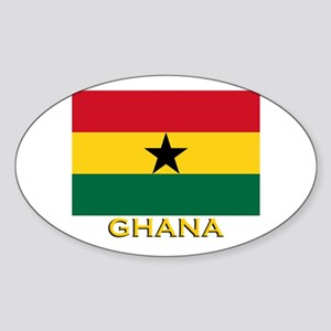 Ghana Flag Gear Oval Sticker