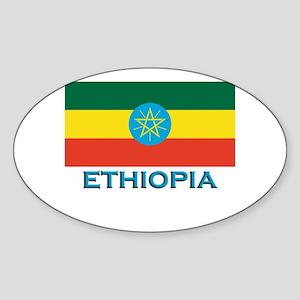 Ethiopia Flag Stuff Oval Sticker