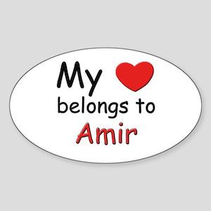My heart belongs to amir Oval Sticker