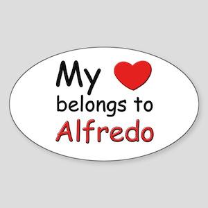 My heart belongs to alfredo Oval Sticker