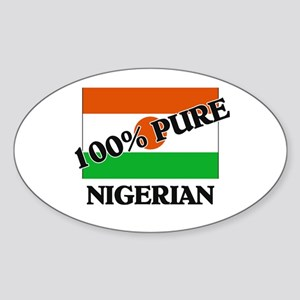 100 Percent NIGERIAN Oval Sticker