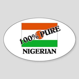 100 Percent NIGERIAN Oval Sticker