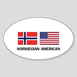 Norwegian American Oval Sticker