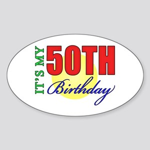 50th Birthday Party Oval Sticker