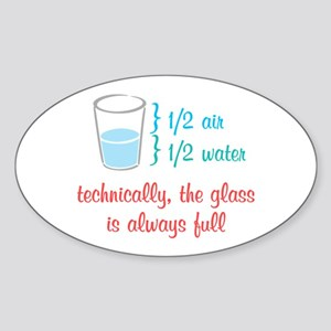 Glass Always Full Sticker (Oval)