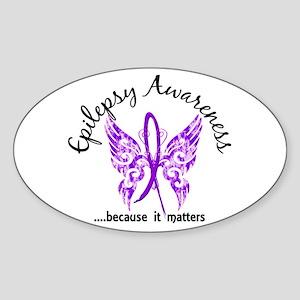 Epilepsy Butterfly 6.1 Sticker (Oval)