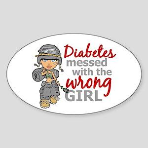 Combat Girl Diabetes Sticker (Oval)