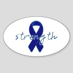 Blue Awareness Ribbon Oval Sticker
