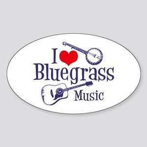 I Love Bluegrass Oval Sticker