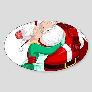 Mrs Claus Kisses Santa On Cheek And Hugs Sticker