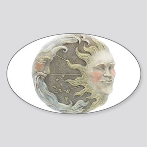 Cosmic Sun and Moon Oval Sticker
