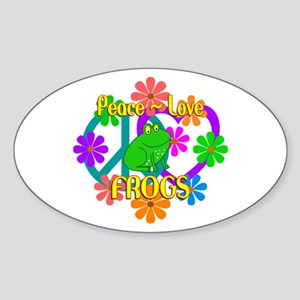 Peace Love Frogs Sticker (Oval)