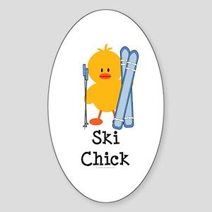 Ski Chick Oval Sticker